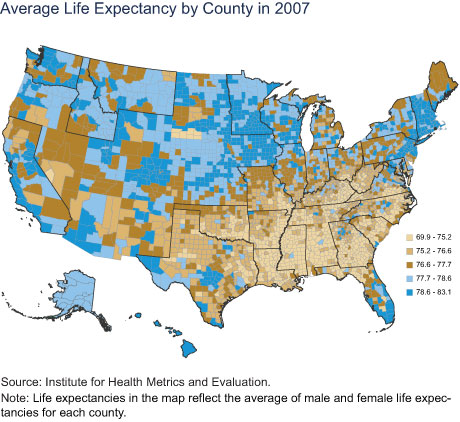 Average Life Expectancy by County in 2007