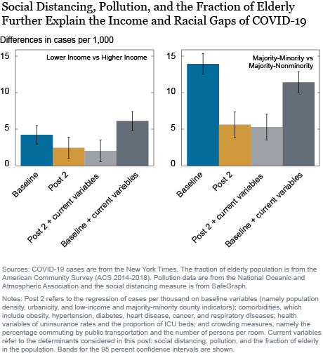 Understanding the Racial and Income Gap in COVID-19: Social Distancing, Pollution, and Demographics